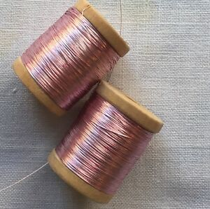 Wooden Spool of Vintage Gold Metallic Thread Dark Color  French