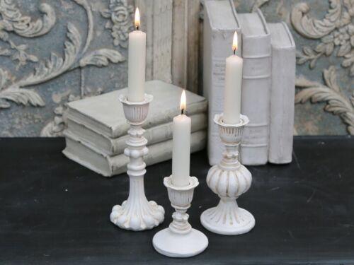 Chic Antique Kerzenständer creme weiß Kerzenhalter Kerzenleuchter Landhaus Deko