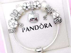 595409f5f Image is loading Authentic-Pandora-Silver-Bangle-Charm-Bracelet-With-Hello-