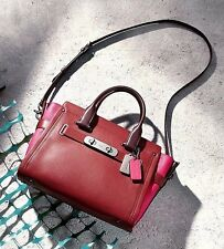 NWT inPackage $550 COACH Colorblock Leather LARGE SWAGGER Satchel Red Pink 56039