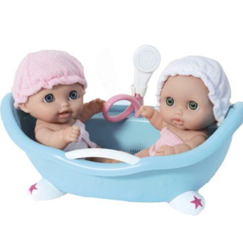 "Lil/' Cutsies Twin Dolls in Bath 8.5"" all vinyl water friendly dolls,"