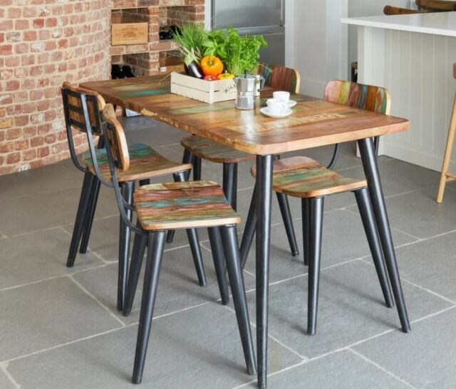 Vintage Dining Table Solid Rustic Wood Small Furniture Metal Kitchen