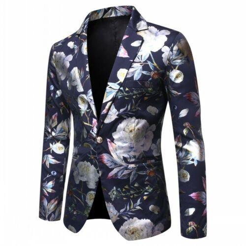 Mens Slim Fit Blazer Jacket Printing Floral Nightclub Costume Stage One Button L