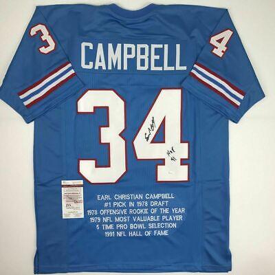watch 619a8 0b6bc Earl Campbell signed Houston Oilers stat jersey ins HOF 91 autograph JSA  COA | eBay