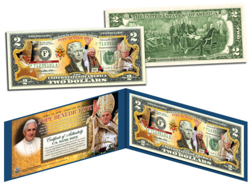 POPE BENEDICT Colorized $2 Bill US Genuine Legal Tender with Folio /& Certificate