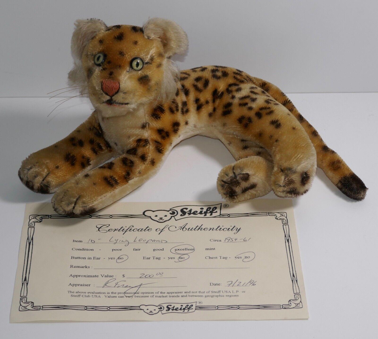 Steiff 1950/60's Mohair 10  Laying Leopard Germany w/COA