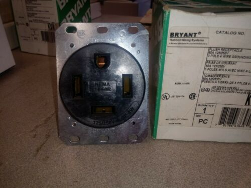 NEW HUBBELL  HBL 9460fr  3 pole 60A 4 Wires 250V Receptacle  USA
