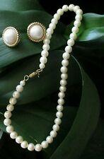 "#Vintage 1928 Faux #PEARL NECKLACE 16"" pierced gold tone & Earrings lot #jewelry"
