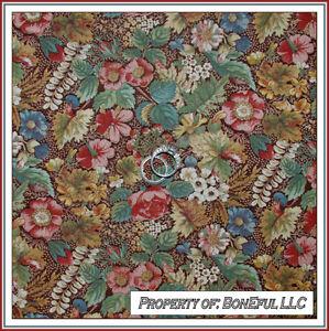 BonEful-Fabric-FQ-Cotton-Quilt-VTG-OOP-Brown-Thanksgiving-Turkey-Antique-Flower