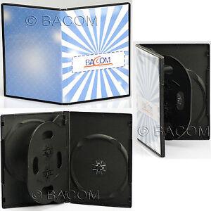 200-Etuis-DVD-Quadruples-Noirs-Basculante-BOITE-Noir-4-DVD-CD-Insert-S