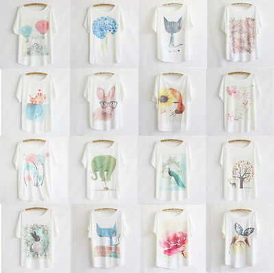 Women's Fashion Loose Cotton Batwing Sleeve Print T-Shirt Summer Tee Blouse Tops