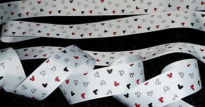 "1/"" inch MICKEY MOUSE ears head confetti print red Disney grosgrain RIBBON 1 yd"