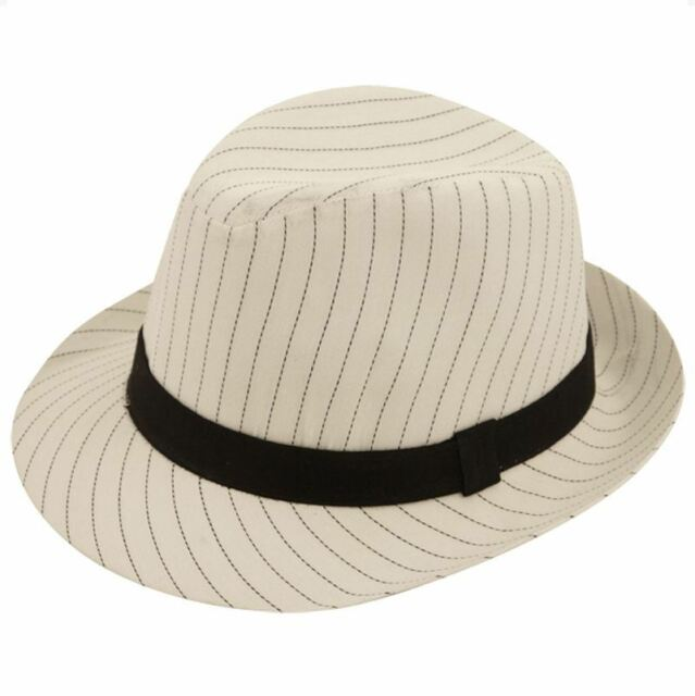 2316190ed Mens Deluxe White Al Capone Fedora Pin Stripe Gangster Trilby Hat Accessory