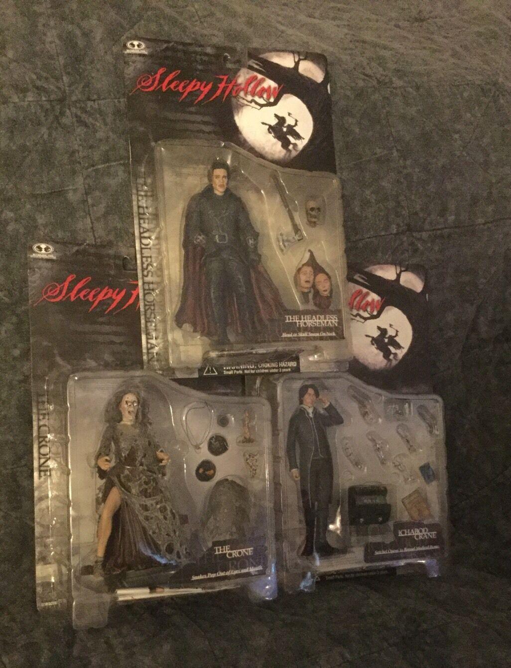 Lot Of 3 NEW Mcfarlane Sleepy Hollow Figures. Ichabod Crane, Horseman, The Crone