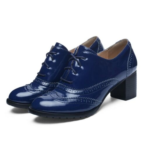 Chaussures Femmes Bout D/'Aile Block talons Derbies à lacets Casual Collegiate Chaussures Taille