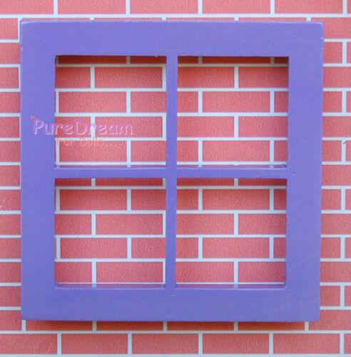 Dollhouse Miniature Window Purple Wooden 4 lattice 1PCS OA010B-3