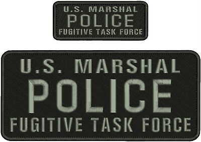 police us marshal embroidery patche 4x10 and 2x5  hook on back  gray letters
