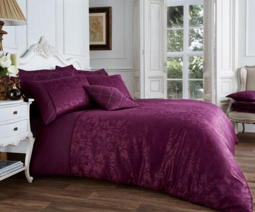 NEW Aubergine Purple Jacquard Luxury Print Duvet Cover Pillowcases  All Sizes