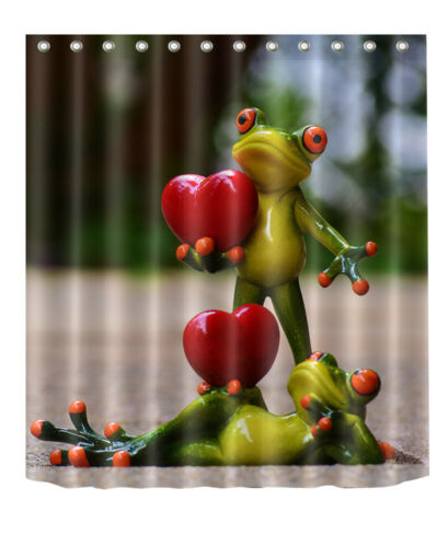 """72x72/""""Frog Lover Polyester Fabric Shower Curtain Bathroom Mat 12Hook 2192"""