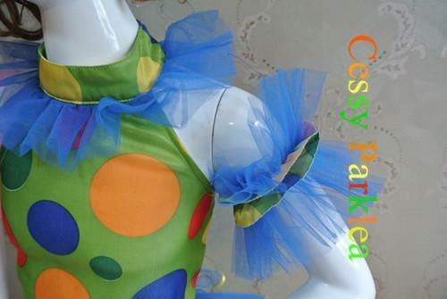M4-2 Circus Clown Girls Costume Party Colourful Outfit  Year 2-7 S M L AU
