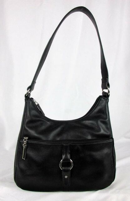 Giani Bernini Na Ring Black Leather Shoulder Hobo Bag Msrp 129 50