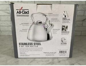 Brand New ALL-CLAD 2 Quart Stainless Steel Tea Pot Kettle