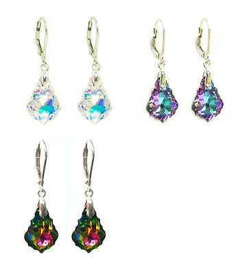 Sterling Silver Leverback Crystal Dangle Earring made with Swarovski Elements