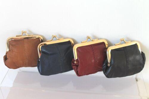 Small soft nappa cuir clip encadrée porte-monnaie 4 couleurs