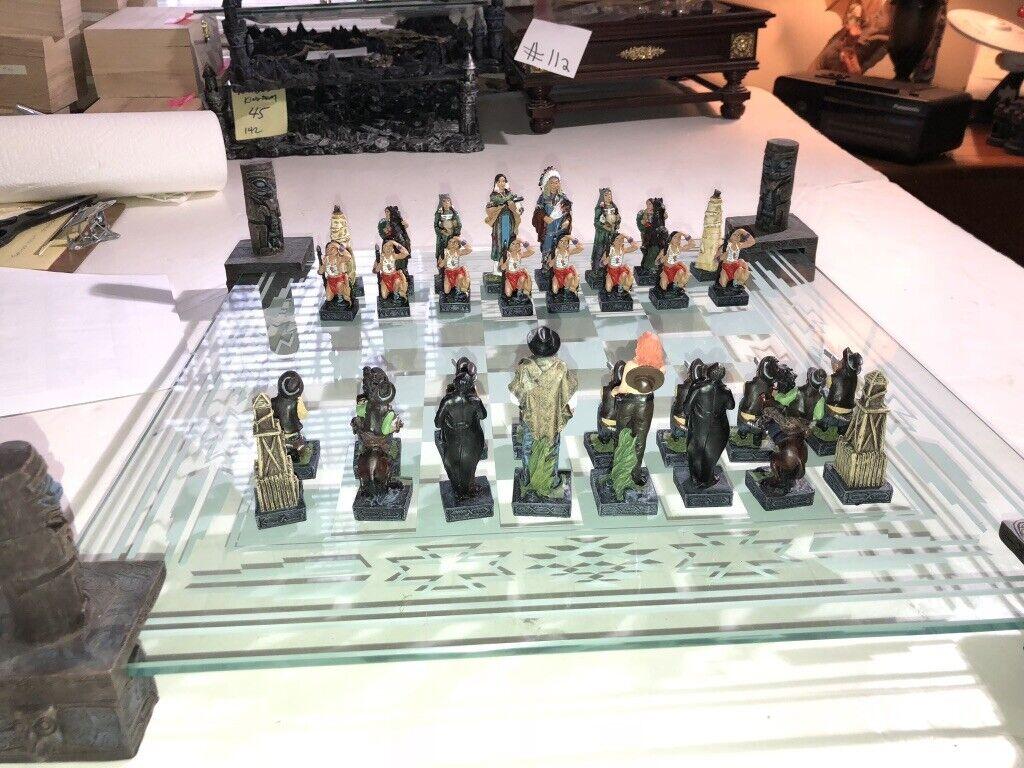 Vintage Excalibur Cowboy and Indians Chess Set