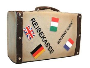 Spardose-Koffer-in-Grau-Reisekoffer-mit-Laenderstickern-14-x-11-5-x-5-5-cm-Urlaub