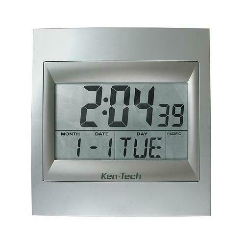 Exclusive Ken-Tech Atomic LCD Radio Controlled Calendar Alarm Wall Clock