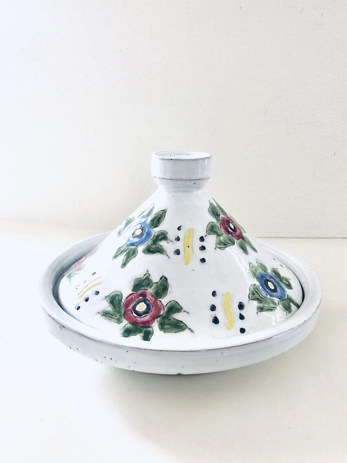 Vintage Raro sirviendo Tagine Marroquí Hecho a Mano en plato de cerámica con tapa 9  rojoondo
