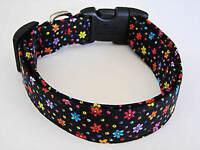 Charming Black W/ Bright Flowers Standard Adjustable Dog Collar