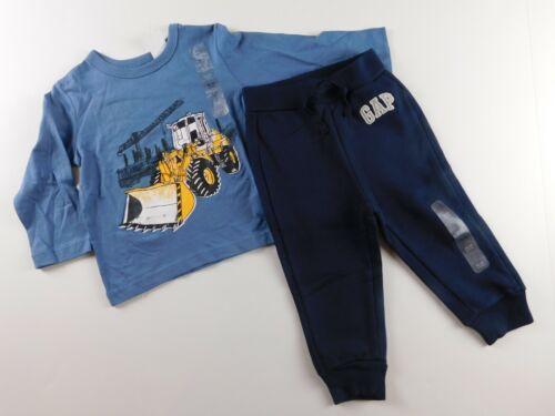 NWT Gap Baby Boy 2 Pc Outfit T-Shirt Bulldozer Blue Joggers 18-24M New Free Ship
