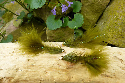 Goldkopf WOOLLY BUGGER Streamer # 8 Forellen-Bach-Teich-See Forelle Köder 3 St