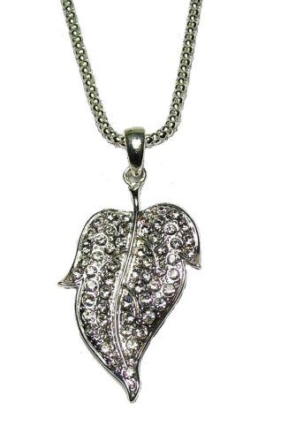 Antique Silver Black Crystal Diamante Necklace Dollar Sign Bow Leaf Ball Key UK