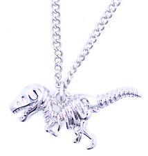 Cool silver tone dinosaur skeleton raptor charm necklace