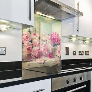 Kuchenruckwand Spritzschutz Kuche Gehartetes Glas Ruckwand Rose Natur Rosa Ebay