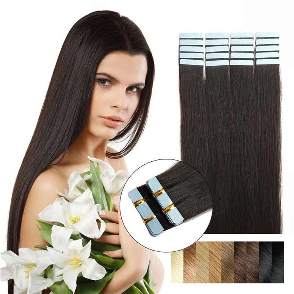 Tape In Skin Weft 16natural Black Brazilian Remy Human Hair