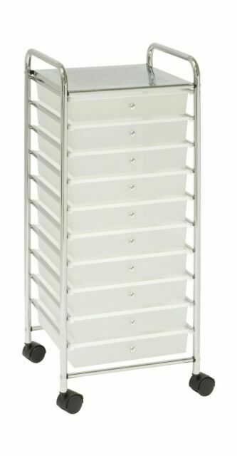 White 10-Drawer Organizer Cart