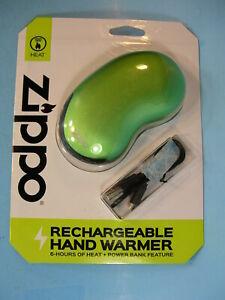 NIP GREEN ZIPPO RECHARGEABLE HAND WARMER ..6 Hrs + USB POWER BANK Output