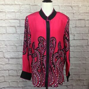 abb6701b200cd4 New Bob Mackie Wearable Art Blouse Women Large Button Pink Black ...