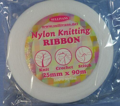 x 90 metres 25mm White Nylon Knitting Ribbon