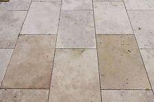 1x Muster Bodenplatte Travertin Noce gebürstet 20x20x3 cm Terrasse mediterran