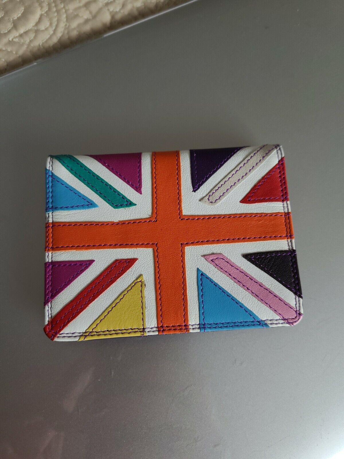 Mywalit Unise Leather Card Holder Wallet Union Jack Rainbow Pride Flag