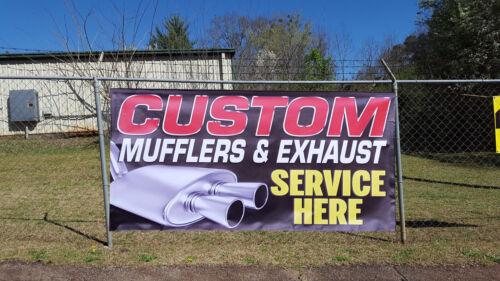 Custom Muffler Exhaust Repair Service Banner Open Sign Auto Mechanic Shop Pipes
