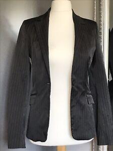 best deals on best website various design Details about Naf Naf Womens Pin Striped Black White Jacket Blazer Size 38  Smart Work Office