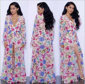 db448021685 S-XXL long sleeve maxi dress floral short romper dress boho split ...