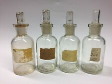 Lot Of 4 Reagent Apothacary Media 60 Ml Lab Bottle Jar Glass Stopper