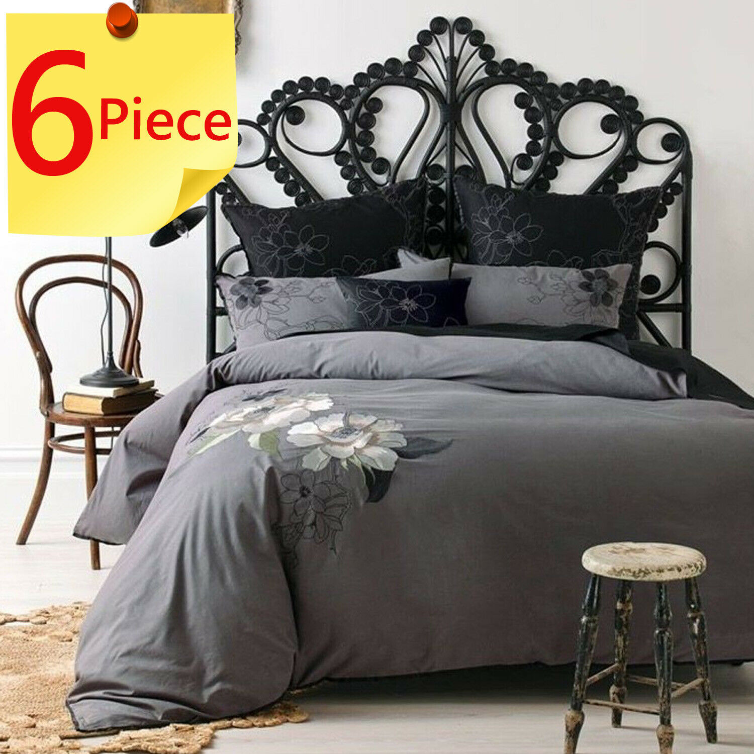 6 Piece Lavinia Charcoal by Linen House   Quilt Doona   Duvet Cover Set   Queen